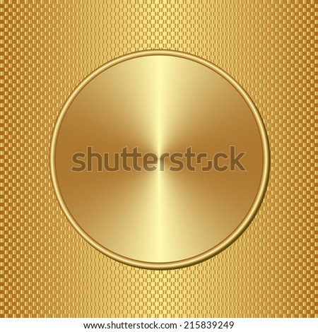golden pattern with round banner - stock vector
