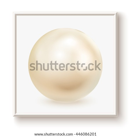 Golden pearl in frame, isolated on a white background. Vector illustration - stock vector