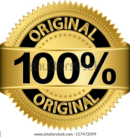 Golden 100 percent original label, vector illustration