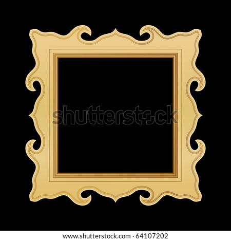 golden picture frame - stock vector