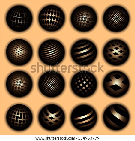 Golden planet symbols, vector - stock vector