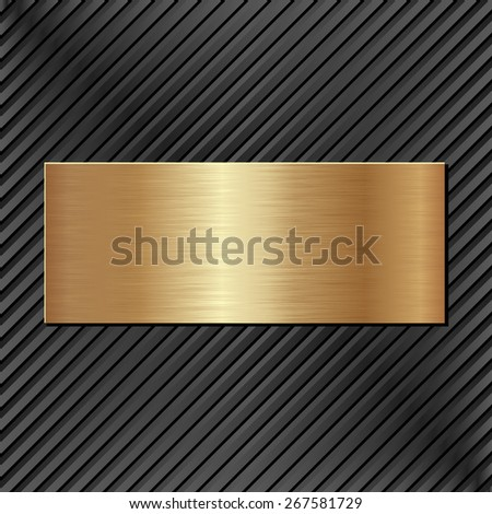 golden plaque on black textured background - stock vector