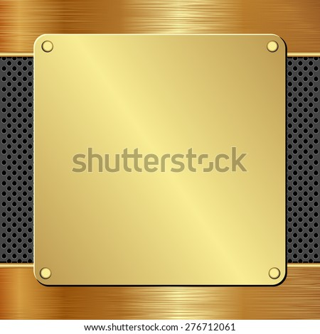 golden plaque on black textured panel - stock vector