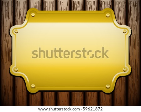 Golden plate on wooden background (vintage vector) - stock vector