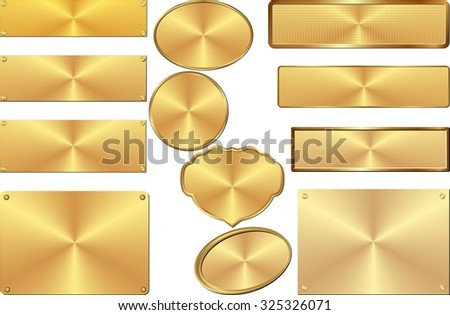 golden plates - stock vector