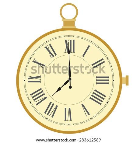 Golden pocket watch with roman numerals vector illustration. Vintage pocket clock  - stock vector