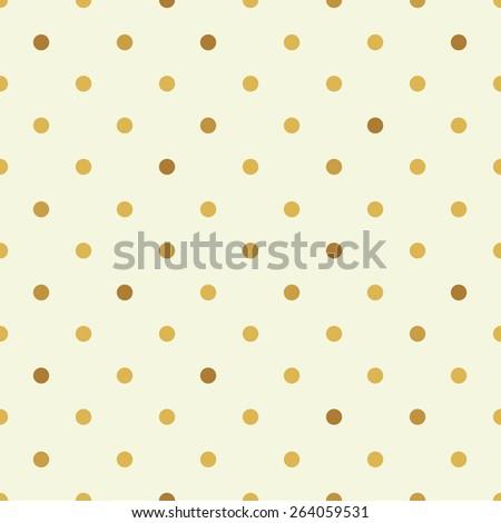golden polka dot seamless pattern - stock vector