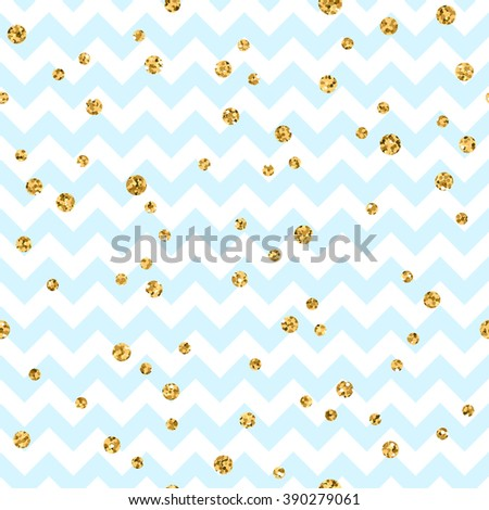 Golden polka dot seamless pattern. Gold confetti glitter zigzag. Geometric blue and white zig zag texture. Valentine day or christmas design for card, wallpaper, wrapping, textile. Vector Illustration - stock vector