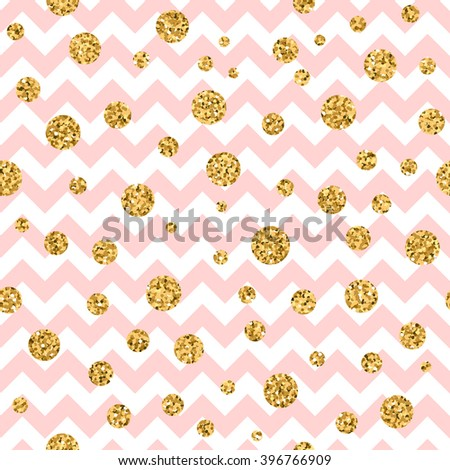 Golden polka dot seamless pattern. Gold confetti glitter zigzag. Geometric pink and white zig zag texture. New year or christmas design for card, wallpaper, wrapping, textile. Vector Illustration - stock vector