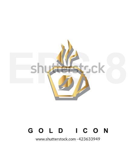 Golden premium Coffee cup or mug icon graphic web design element or logo template. Vector royal luxury symbol for business, internet, decoration. Modern abstract glittering metallic emblem - stock vector