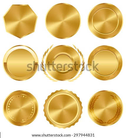 Golden Premium Quality Best Labels Medals Collection on White Background - stock vector
