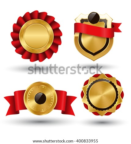 Golden Premium Quality Red Best Labels Collection Space for Text Isolated on White Background - stock vector
