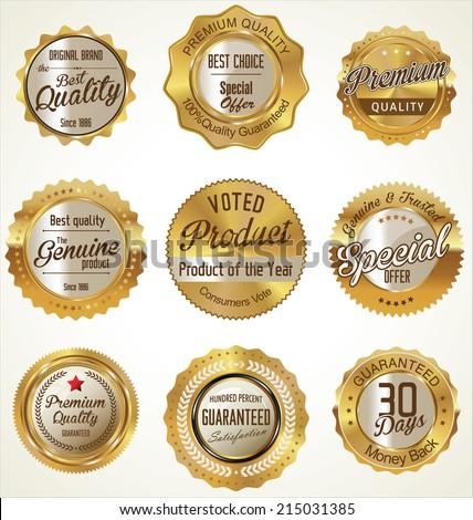Golden Premium Quality retro Labels - stock vector