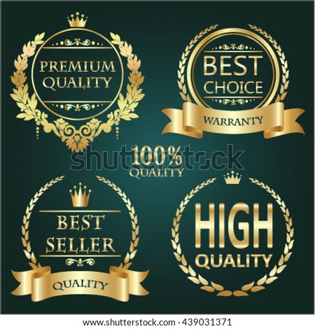 Golden premium quality retro vintage shields and laurels.Vector badge collection. Premium quality,best seller,best choice and high quality warranted golden label.  Vector illustration - stock vector