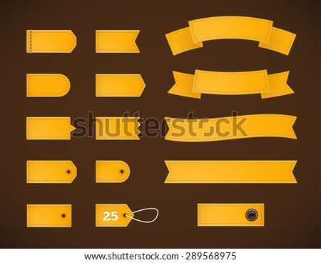 Golden price tags, labels and ribbons. Set of labels and price tags of different shapes. - stock vector
