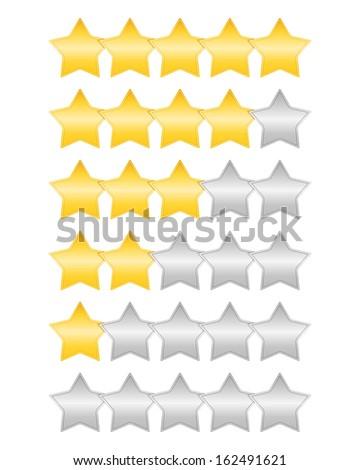 Golden rating stars set, vector eps10 illustration - stock vector