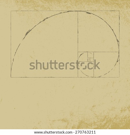 Golden ratio spiral with distress paper background. EPS10 vector. - stock vector