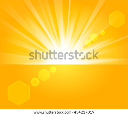 Golden Rays rising from horizon in light background