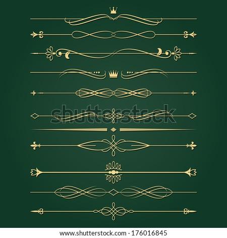 Golden retro divider set. Calligraphic design elements. - stock vector