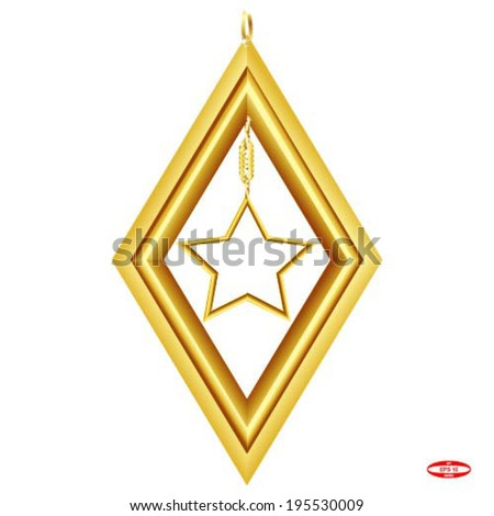 golden rhombus with star isolated on white background vector