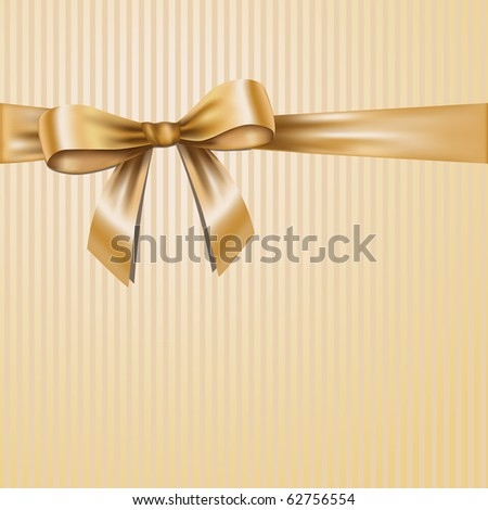 Golden ribbon on striped paper.