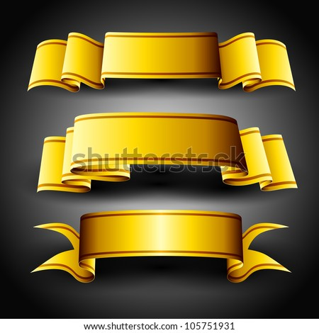 Golden ribbons set, isolated on grey background. EPS 10. - stock vector