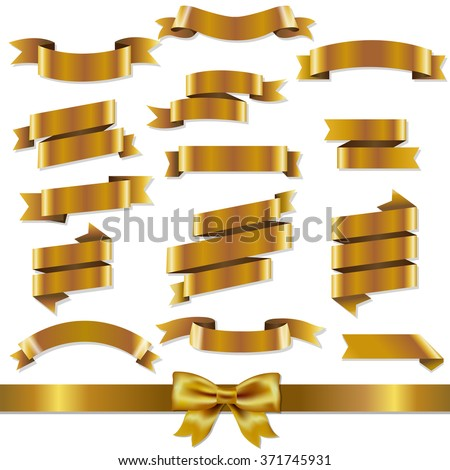 Golden Ribbons Set With Gradient Mesh, Vector Illustration - stock vector