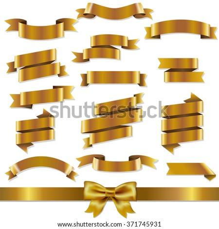 Golden Ribbons Set With Gradient Mesh, Vector Illustration - stock vector