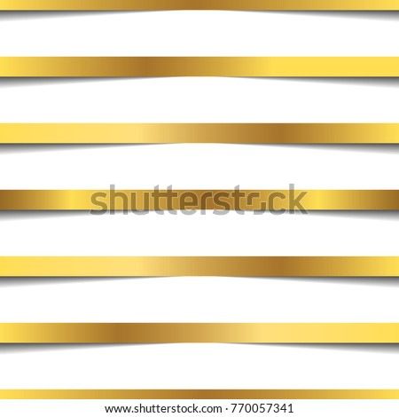 stock vector golden ribbons straight line seamless pattern on transparent background 770057341