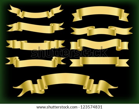 Golden  ribbons. Vector set. - stock vector
