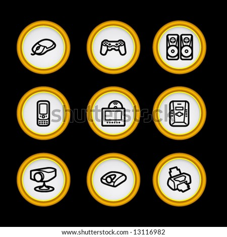 Golden ring web icons, set 21 - stock vector