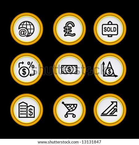 Golden ring web icons, set 23 - stock vector