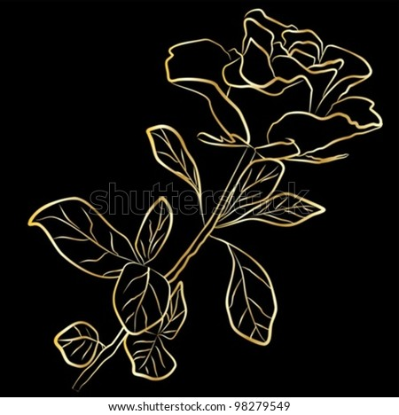 golden rose - freehand on a black background, vector illustration - stock vector