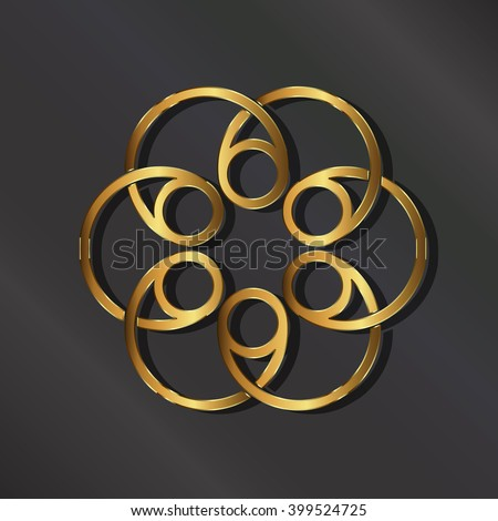 Golden rosette logo. Vector graphic design illustration - stock vector