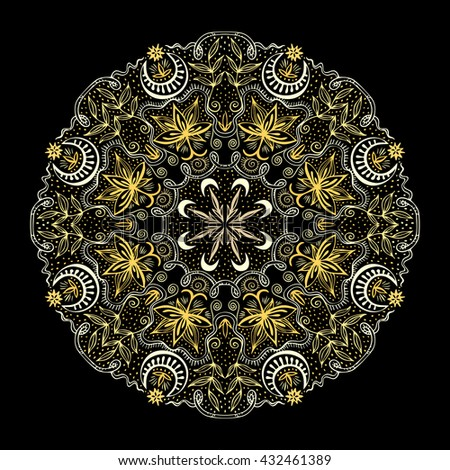 Golden round lacy tantric ornament. Hand drawn lotuses, moons and plants gold colors Art Nouveau style. Vintage mandala for print or t-shirt fashion design. Spirituality concept. Vector illustration. - stock vector