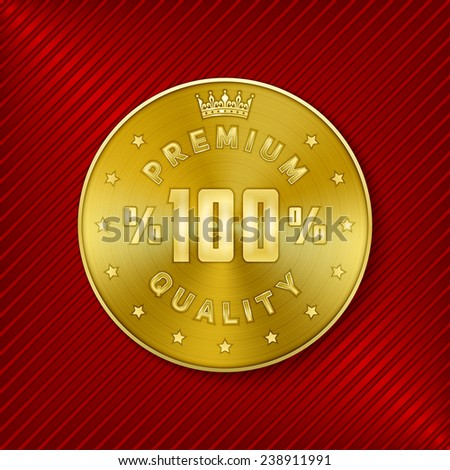 Golden round premium quality design concentric circle pattern textured metal badge for product promotion and advertising on luxury red striped background vector illustration - stock vector