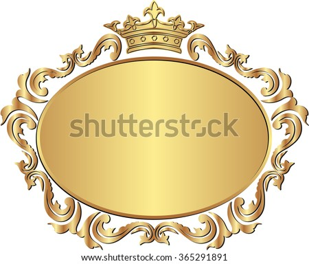 golden royal frame with crown - stock vector