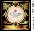 Golden royal label on black background - stock vector