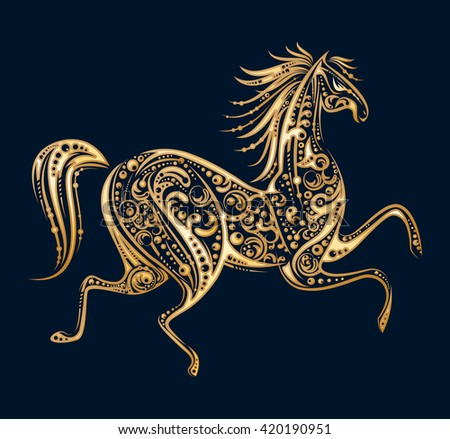 Golden running horse made by floral elements on black background. Template design for  icon, emblem, print or mascot. Animal concept. Vintage style. Vector illustration.  - stock vector