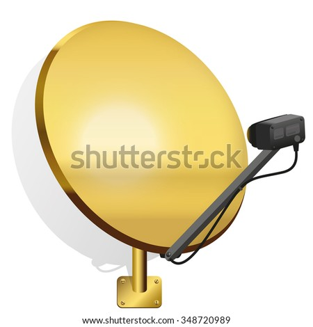 Golden satellite dish to receive signals for television, radio, internet. Isolated vector illustration on white background. - stock vector