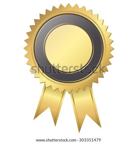 gold black award rosette ribbon stock vector 244429357 shutterstock. Black Bedroom Furniture Sets. Home Design Ideas