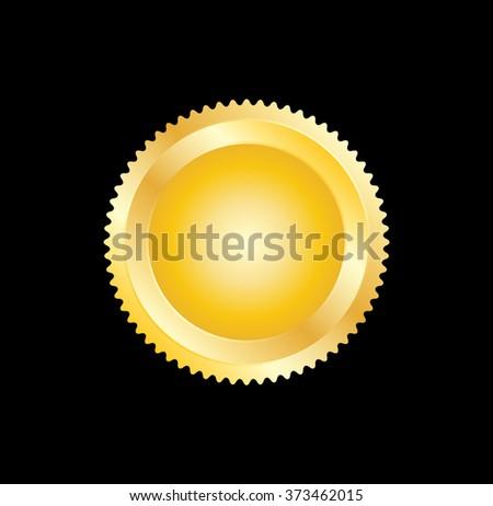 Golden Seal . Vector Golden Seal . Stamp Golden Seal . Metal Golden Seal . Golden Gold Seal . Medal Golden Seal . Emblem Golden Seal . Badge Golden Seal . Label Golden Seal . - stock vector