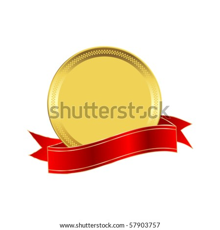 Golden seal with a red ribbon - stock vector
