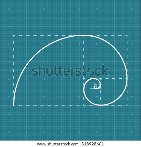 Golden section on grid paper, 2d golden ratio, project concept, vector, eps 8