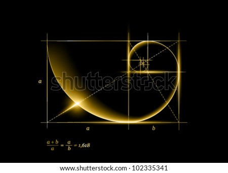 Golden section (ratio, divine proportion) and golden spiral - stock vector