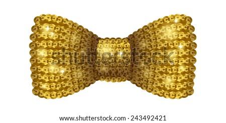 Golden sequins bow tie. Glamorous glitter formal wear. Decoration element. - stock vector