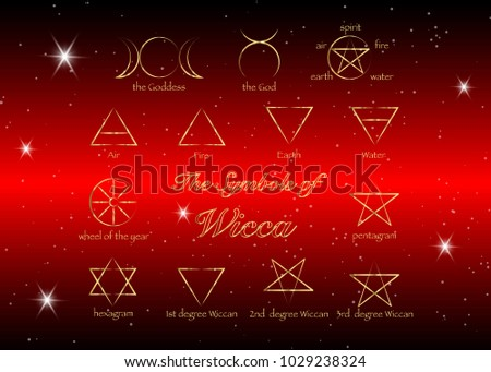 Golden Set Witches Runes Wiccan Divination Stock Vector 1029238324