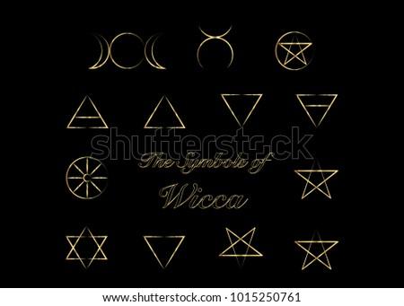 Golden Set Witches Runes Wiccan Divination Stock Vector 2018