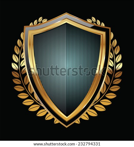 Golden shield - stock vector