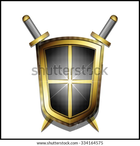 Golden shield and two crossed swords on white background. Vector illustration 10 EPS - stock vector